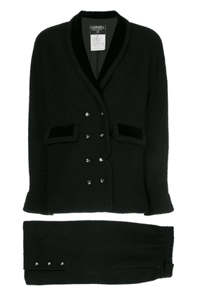 Chanel Vintage narrow double breasted skirt suit - Black