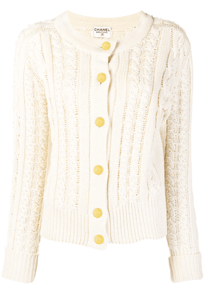 Chanel Vintage cable knit buttoned cardigan - Neutrals
