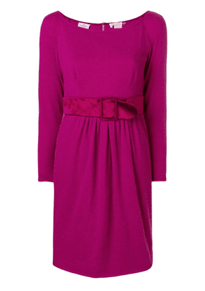 Valentino Vintage belted longsleeved short dress - Pink
