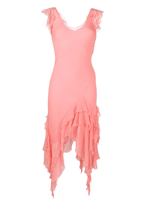 Christian Dior Vintage frill bias cut dress - Pink
