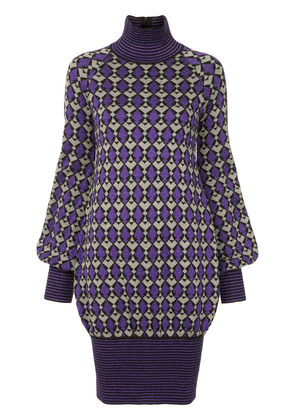 Chanel Vintage geometric pattern knitted dress - Purple