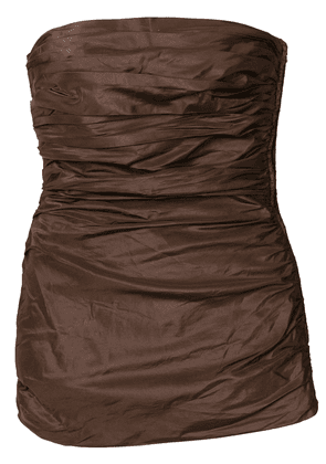Yves Saint Laurent Vintage gathered strapless top - Brown