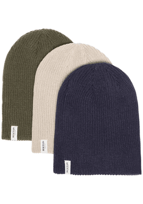 Burton Ak green, navy and grey 3 pack logo knitted beanie hats -