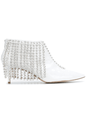 Christopher Kane crystal fringe booties - White