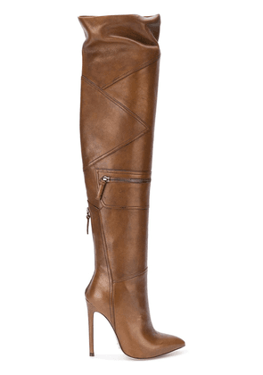 Gianni Renzi thigh high panelled boots - Brown