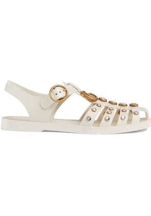 Gucci Rubber sandal with crystals - White