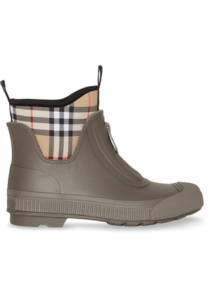 Burberry Vintage Check Neoprene and Rubber Rain Boots - Green