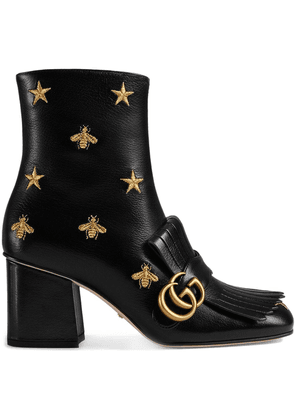 Gucci Embroidered leather mid-heel ankle boot - Black
