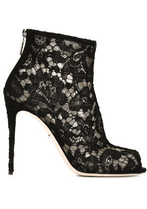 Dolce & Gabbana floral lace booties - Black