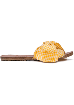 Brother Vellies bow front slides - Yellow