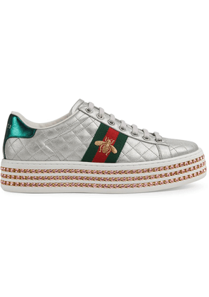 Gucci Ace sneaker with crystals - Silver