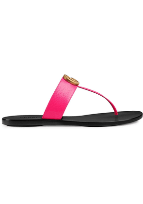 Gucci Leather thong sandal with Double G - Pink