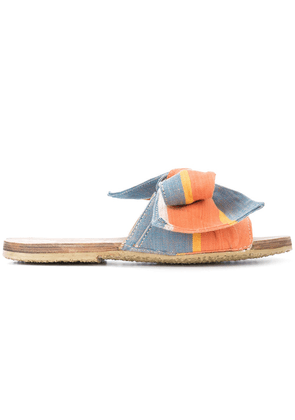 Brother Vellies bow open-toe slides - Yellow