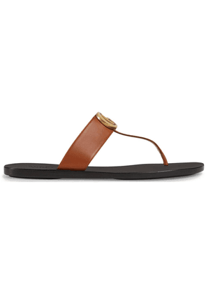 Gucci Leather thong sandal with Double G - Brown