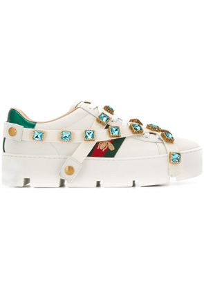 Gucci crystal embellished bee sneakers - White