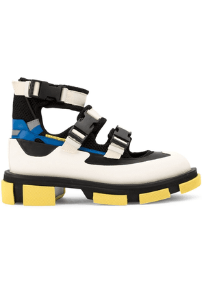 Both buckle strap hi-top sneakers - White