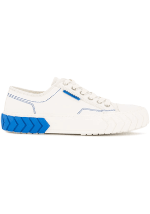 Both contrast detail lace-up sneakers - White