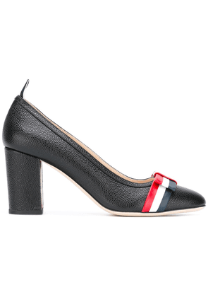Thom Browne Medium Block Heel With Red, White And Blue Leather Bow In