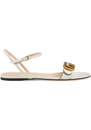 Gucci Leather sandal with Double G - White