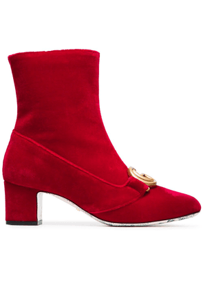 Gucci Devil Red Victoire 55 Velvet Ankle Boots