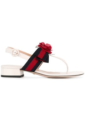 Gucci floral Web andals - White