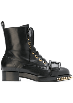 No21 chain trimmed boots - Black