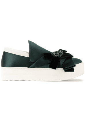 No21 embellished bow slip-on sneakers - Green