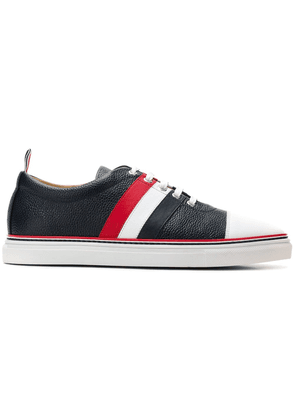 Thom Browne Striped Straight Toe Cap Leather Trainer - Blue