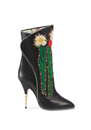 Gucci flower intarsia boots - Black