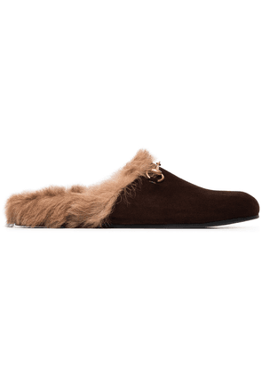 Gucci brown River suede fur lined clogs