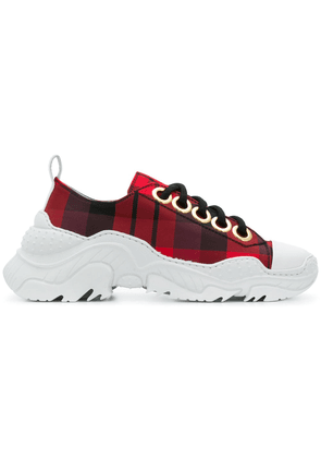 No21 chunky sole check sneakers - Red