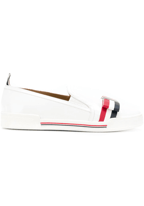 Thom Browne striped bow slip-on sneakers - White