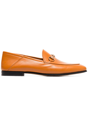 Gucci cognac brown brixton leather loafers