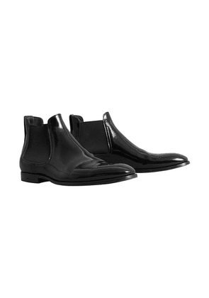 Burberry Polished Leather Chelsea Boots - Black