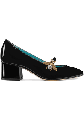 Gucci Bee-shaped decor patent leather mid-heel pumps - Black