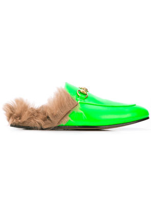 Gucci Princetown fur lined loafers - Green