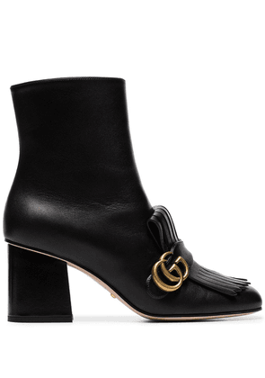 Gucci black marmont 75 fringed leather ankle boots