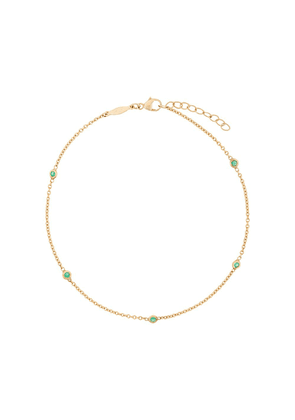 Jacquie Aiche five emerald spaced out anklet - Green