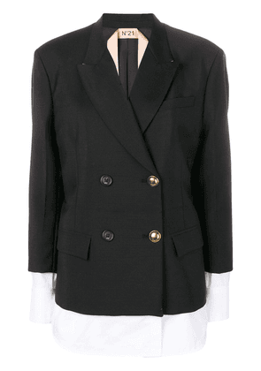No21 double breasted layered jacket - Black