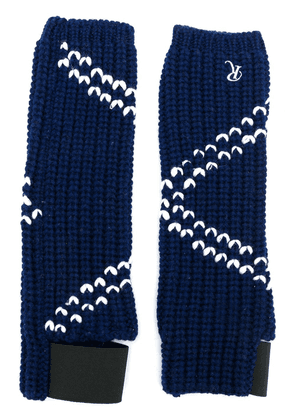 a41f45ab721 Raf Simons contrast knitted gloves - Blue