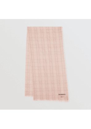 Burberry Embroidered Vintage Check Lightweight Cashmere Scarf, Orange