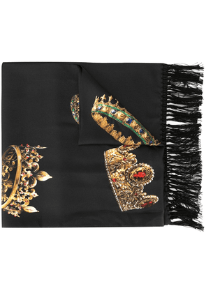 Dolce & Gabbana crown print scarf - Black