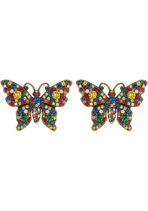 Gucci Crystal studded butterfly earrings - Yellow