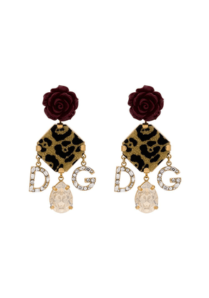 Dolce & Gabbana red rose leopard print charm earrings - Gold