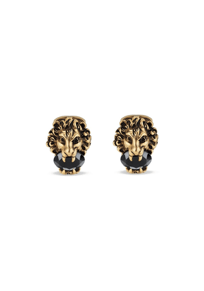 Gucci Lion head cufflinks with crystals - Metallic