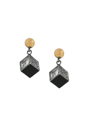 Bottega Veneta small cube motif earrings - Metallic