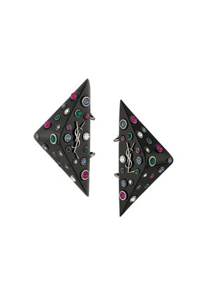 Saint Laurent logo geometric earrings - Black