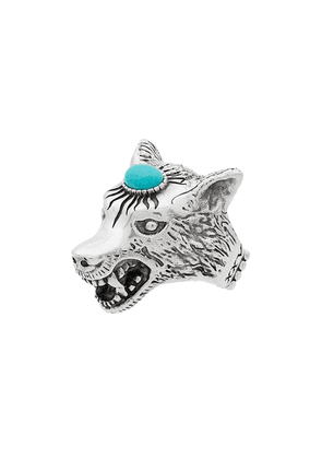 Gucci metallic Anger Forest sterling silver wolf head ring