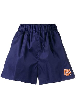 Prada logo-patch shorts - Blue