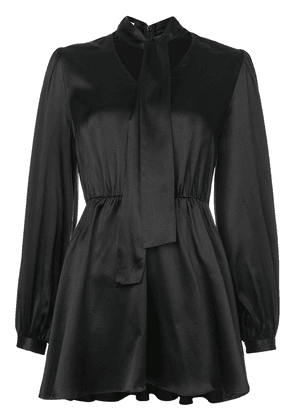 Co silk fitted waist blouse - Black